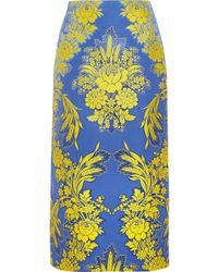 Gucci - Floral-jacquard Midi Skirt - Lyst