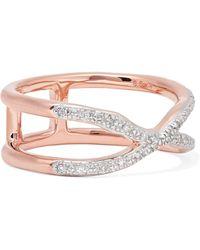 Monica Vinader - Riva Wave Cross Rose Gold Vermeil Diamond Ring Rose Gold M - Lyst