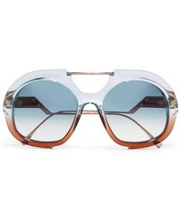 Fendi - Round-frame Two-tone Acetate And Rose Gold-tone Sunglasses - Lyst