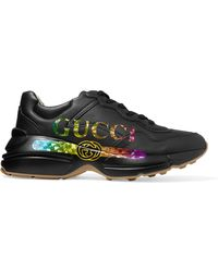 f4d2f43677b Gucci - Rhyton Metallic Logo-print Leather Trainers - Lyst