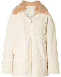 Ganni - Ridgewood Faux Fur-trimmed Cotton-blend Corduroy Jacket - Lyst