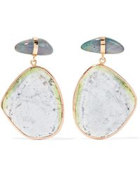 Melissa Joy Manning   14-karat Rose And Yellow Gold, Opal And Tourmaline Earrings   Lyst