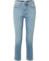 Mira Mikati - Cropped Embroidered High-rise Straight-leg Jeans - Lyst