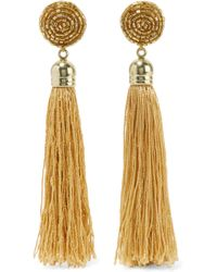 Kenneth Jay Lane - Gold-plated, Tasselled Silk And Bead Earrings - Lyst