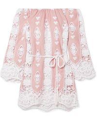 Miguelina - Bridgette Off-the-shoulder Crocheted Cotton-voile Mini Dress - Lyst