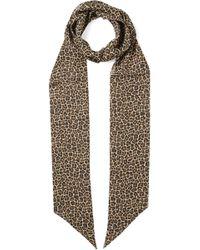 Saint Laurent - Leopard-print Silk-chiffon Scarf - Lyst
