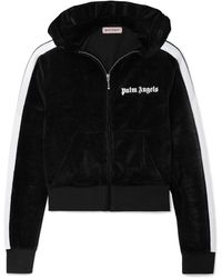 Palm Angels - Cropped Hooded Cotton-blend Chenille Jacket - Lyst
