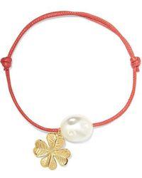 Aurelie Bidermann - Grigri Gold-tone, Faux Pearl And Cotton Bracelet - Lyst