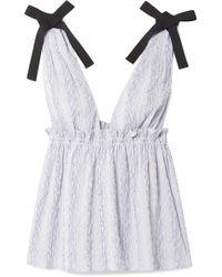 La Ligne - Grosgrain-trimmed Striped Cotton-blend Poplin Top - Lyst