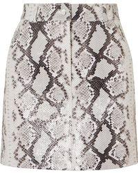 Maje - Snake-print Leather Mini Skirt - Lyst