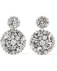Oscar de la Renta - Silver-tone Swarovski Crystal Clip Earrings Silver One Size - Lyst