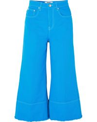 MSGM - Cropped High-rise Wide-leg Jeans - Lyst