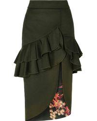 Johanna Ortiz - Ruffled Wool-blend Felt Midi Skirt - Lyst