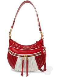 Miu Miu - Two-tone Quilted And Matelassé Leather Shoulder Bag - Lyst