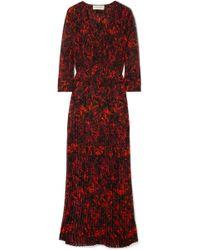 By Malene Birger - Midotter Pleated Printed Chiffon Maxi Dress - Lyst