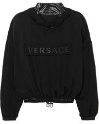 Versace - Cropped Printed Silk-charmeuse Hoodie - Lyst