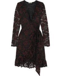 Ganni - Flynn Lace Wrap Mini Dress - Lyst
