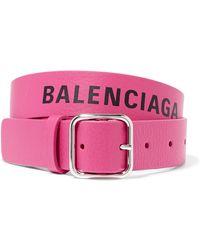 Balenciaga - Everyday Printed Textured-leather Waist Belt - Lyst