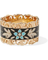 Gucci - Icon 18-karat Gold And Enamel Ring - Lyst