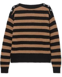 Max Mara - Button-embellished Striped Ribbed Wool And Cashmere-blend Jumper - Lyst
