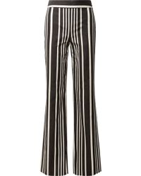 Alice + Olivia - Johanna Striped Cotton-blend Wide-leg Pants - Lyst