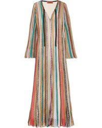 Missoni - Striped Metallic Crochet-knit Maxi Dress - Lyst