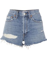 Solid & Striped - + Re/done The Malibu Jeansshorts In Distressed-optik - Lyst