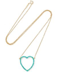 Jennifer Meyer - Open Heart 18-karat Gold Turquoise Necklace - Lyst