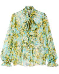 Dolce & Gabbana - Pussy-bow Floral-print Silk-chiffon Blouse - Lyst