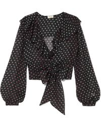 Temperley London - Ruffled Polka-dot Silk-chiffon Blouse - Lyst