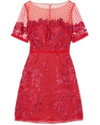 Marchesa notte - Embroidered Flocked Tulle Mini Dress - Lyst