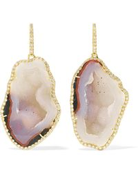 Kimberly Mcdonald - 18-karat Gold, Geode And Diamond Earrings Gold One Size - Lyst
