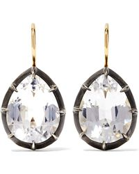 Fred Leighton - Collection 18-karat Gold, Sterling Silver And Topaz Earrings - Lyst