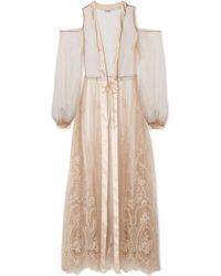 I.D Sarrieri - Mystère De Minuit Satin-trimmed Metallic Embroidered Tulle Robe - Lyst