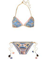 Anjuna - Diana Reversible Crochet-trimmed Printed Triangle Bikini - Lyst