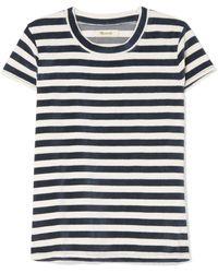 Madewell - Basil Striped Cotton-blend Velour T-shirt - Lyst