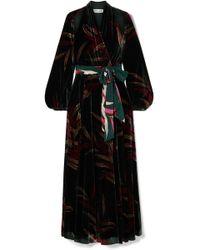 Diane von Furstenberg - Cutout Printed Velvet Wrap Maxi Dress - Lyst