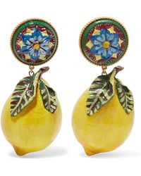 Dolce & Gabbana - Floral And Large Lemon-drop Clip On Earrings - Lyst