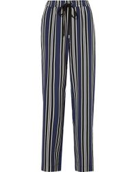 Markus Lupfer - Agnes Striped Silk Wide-leg Trousers - Lyst