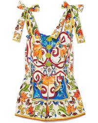 Dolce & Gabbana - Maiolica Printed Cotton-poplin Top - Lyst