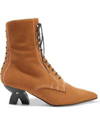 Loewe - Shearling-lined Suede Ankle Boots - Lyst