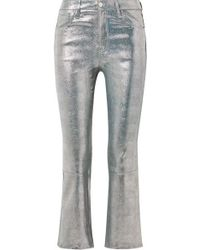 J Brand - Selena Cropped Metallic Snake-effect Leather Flared Pants - Lyst