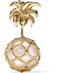 Yvonne Léon - 18-karat Gold, Pearl And Sapphire Earring - Lyst