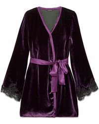 I.D Sarrieri - Chantilly Lace-trimmed Velvet Robe - Lyst