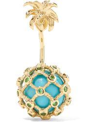 Yvonne Léon - 18-karat Gold, Turquoise And Tsavorite Earring Gold One Size - Lyst