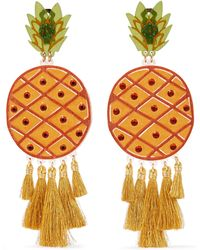 Mercedes Salazar - Fiesta Piñas Tasseled Gold-plated, Resin And Crystal Clip Earrings - Lyst