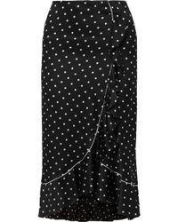 Ganni - Dufort Ruffled Polka-dot Silk-blend Satin Skirt - Lyst