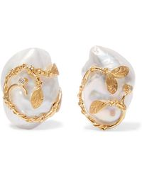 Of Rare Origin - Hedera Gold Vermeil, Pearl And Diamond Clip Earrings - Lyst