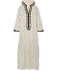 Tory Burch - Savonna Striped Embroidered Canvas Kaftan - Lyst