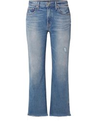 GRLFRND - Joan Cropped Distressed Mid-rise Flared Jeans - Lyst